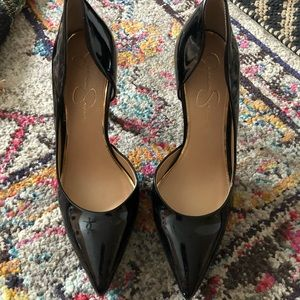 Pointy toed patent leather stilettos